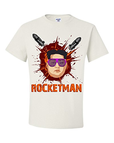 Politically Incorrect Costume (Rocketman with Explosions and Missiles Caricature T-Shirt, Shades Version)