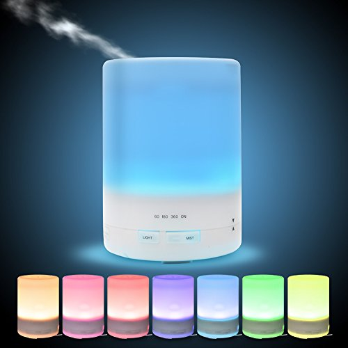 LONGKO Ultrasonic Aroma Essential Oil Diffuser, 300 Milliliter Color  Changing Auto Shut Off For Home Bedroom Office