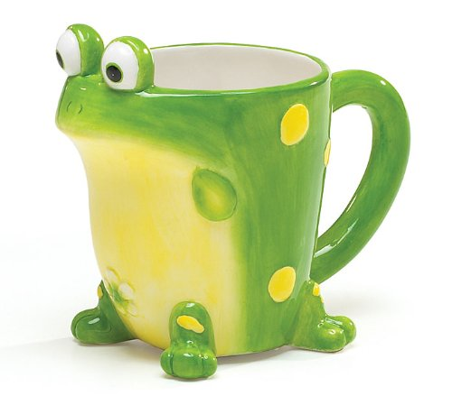 Toby Toad Frog Ceramic Painted Mug 12 oz Coffee Cup Tea Whimsical Animal Lover Gift Idea