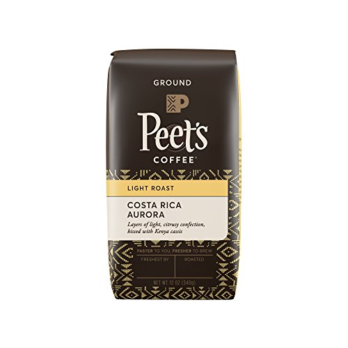 Peet's Coffee, Costa Rica Aurora, Light Roast, Ground Coffee, 12 oz. Bag, Bright, Clean and Smooth Light Roast Blend of Costa Rican and Kenyan Coffees, with Layers of Dark and (Round Roast)