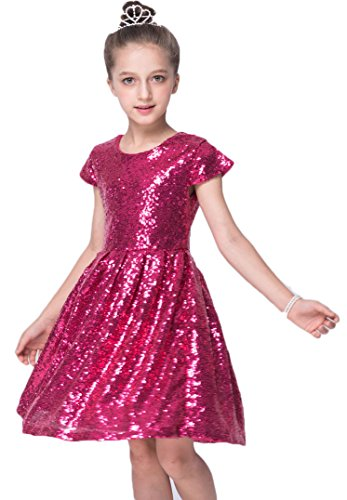 Shiny Toddler Little/Big Girls Shiny Sequins Birthday Party Dance Dress 6 to 7(Tag130),Rose Red ()