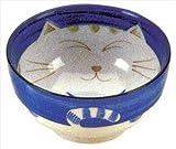 JapanBargain Japanese Smiling Blue Cat Porcelain Soup Bowl 6 inch
