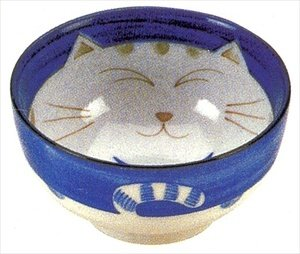 JapanBargain Japanese Smiling Blue Cat Porcelain Soup Bowl 6 inch