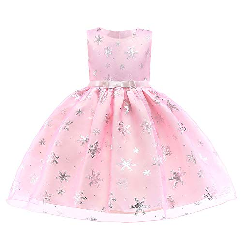 Baby Girls Christmas Dress Toddler Snowflake Print Party Wedding Formal Princess Dresses Birthday Floral Princess Dance Outfits Evening Gowns (Snowflake Pink, 5-6 Years)