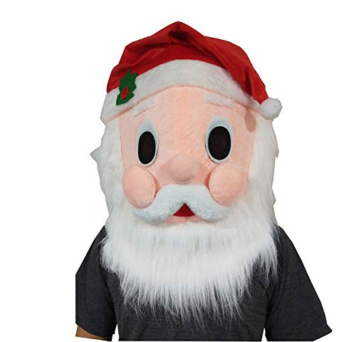 Christmas Plush Santa Animal Head Mask Halloween Santa Mascot Costume -