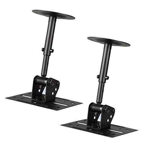 - Speaker Wall Ceiling Mount Stand - Black Speaker Mounting Bracket w/ Adjustable Swivel Tilt, Retractable Telescopic Arm - Home Surround Sound System Bookshelf Satellite Speakers - Pyle PSTNDC31 (Pair)