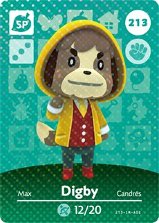 Digby - Nintendo Animal Crossing Happy Home Designer Amiibo Card - 213