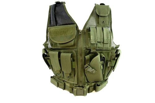 (Urban Assault Cross-Draw Military Vest with Tactical Belt - Woodland (Olive DRAB))