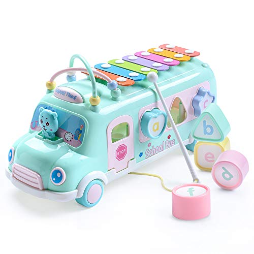 Juboury School Bus Toy, Learning Educational Toys for Baby & Toddler, Push & Pull Toy with Xylophone, Blocks for 1 2 3 Year Old Boys and Girls (Aqua Blue)