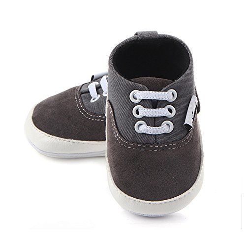 Huluwa Baby Shoes Non-slip First Walking Shoes, Rubber Sole Canvas Shoes for Baby Boys Girls, Safe and Comfort, Gray