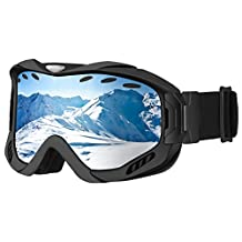 Skate Goggles,Patec Snowboard Skate Goggles Over Glasses Snowmobile Ski Goggles with Dual-layer Lens,100% UV Protection,Anti-fog,Upgraded Ventilate System for Boys,Girls,Youth,Mens,Womens Snowmobile Skiing Skating-Black