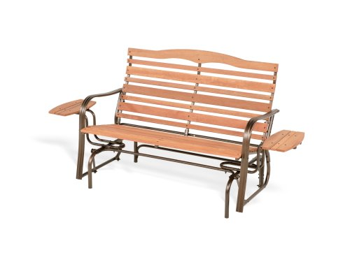 Jack Post WL-12Z Woodlawn Collection High-Back Double Glider with Bronze Frame and 2 Side Trays by JACK-POST