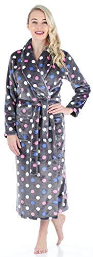 PajamaMania Women's Sleepwear Fleece Long Robe Grey Polka Dots (PM1400-2053-MED) -