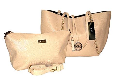BCBG Reversible Chain Tote Bag Beige/Black B0060-CH (Bcbg Black Bag)
