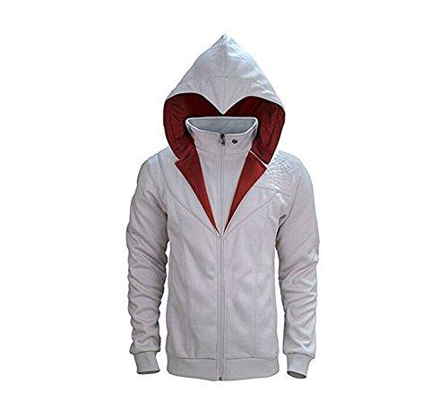 TISEA Unisex Hot Game Fashion Brotherhood Type Hoodie Jacket Coat (M, Grey White)