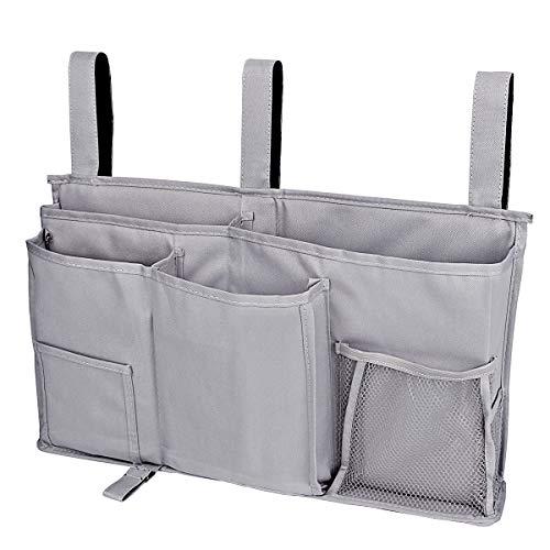 Bedside Storage Organizer, Libay Bedside Caddy Hanging Storage Bag with 8 Pockets for Bunk Dorm Rooms and Hospital Bed Rails (Grey)