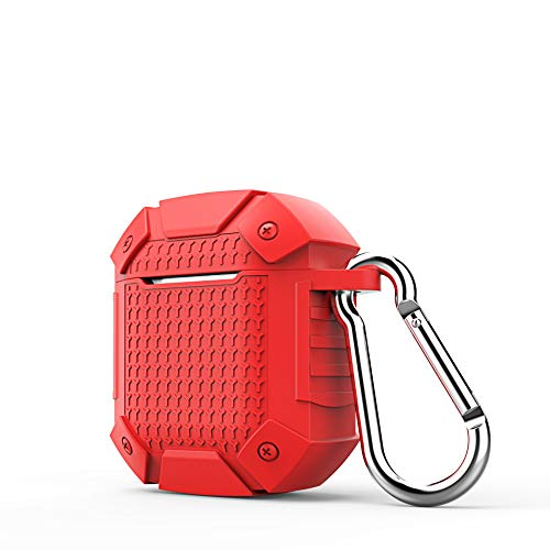 elegantstunning for A-i-r-p-o-d-s Charging Box Silicone Blueteeth Earphone Case Wireless Headset Bag Portable Protective Cover Skin Accessory red