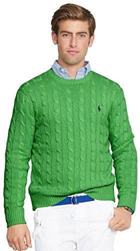 Polo+Ralph+Lauren+Men%27s+Pony+Cable+Knit+Crewneck+Sweater%2C+Large%2C+Lavender+%28Small%2C+Amber+Green%29