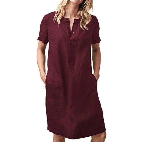 HEFASDM Womens Linen Casual Slim Fit Pork Chop Pocket Baggy Party Dress Wine Red M ()