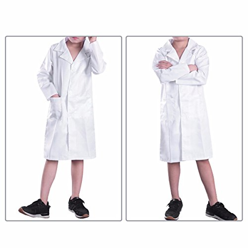 YiZYiF Childrens Boys Girls Lab Coat Laboratory Uniform Doctor Fancy Cosplay Dress up Costume White 12-14