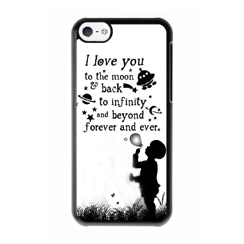 Coque,Coque iphone 5C Case Coque, Love You To The Moon And Back Quotes Cover For Coque iphone 5C Cell Phone Case Cover Noir
