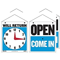 2 Pack - BAZIC 7.5x9 Will Return Clock Sign with Open Sign on Back - B-4398