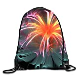 Fiber Optic Flower Gym Drawstring Bags Draw Rope Shopping Travel Backpack Tote Student Camping