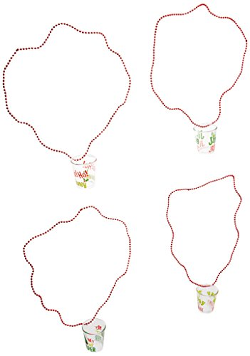 Amscan Festive Christmas Bead Necklace with Shot Glass Pendant (4 Piece), 20