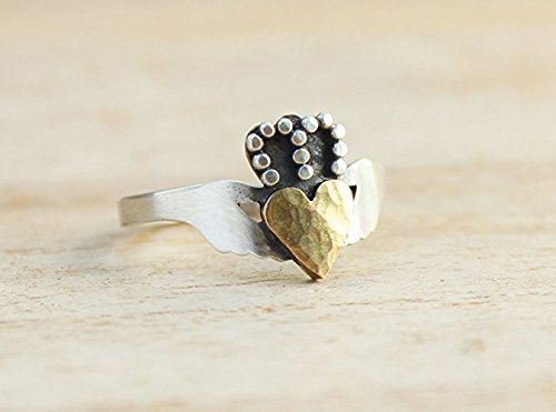 Modern Claddagh Ring, size 6, Handcrafted Sterling Silver Statement Rings