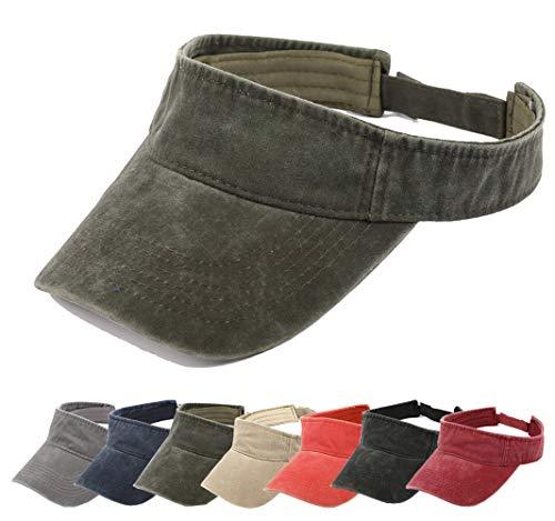 Aedvoouer Men Women Baseball Cap Vintage Cotton Washed Distressed Hats Twill Plain Adjustable Dad-Hat (T-Army Green Sun -