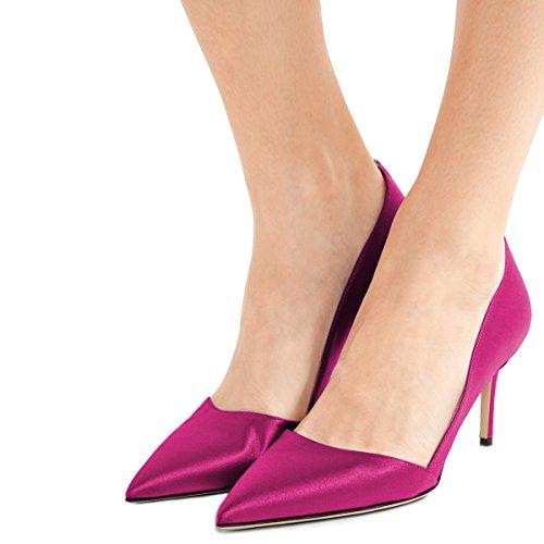 Fsj Donne Abito Formale Pompe A Punta Tacco Medio Scarpe Da Donna Ufficio Partito Per Il Comfort Dimensioni 4-15 Us Hot Pink