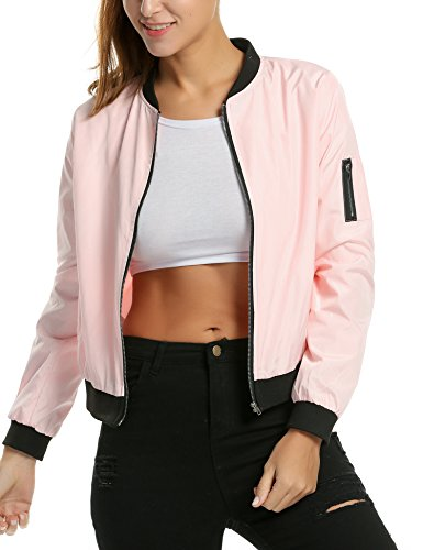 Zeagoo Women's Classic Quilted Jacket Short Bomber Jacket Coat, Pink, Large ()