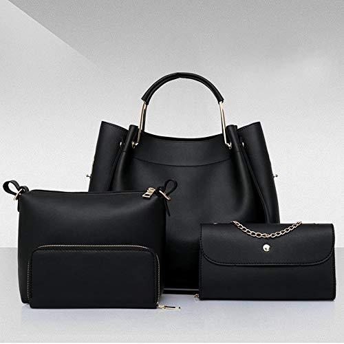 LUCKYCCDD Borsetta Da Donna Secchio Olio Moda 4 Set Di Borsa Femminile PU Messenger Bag,Pink Black