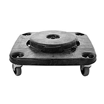 rubbermaid commercial brute trash can dolly square black fg353000bla