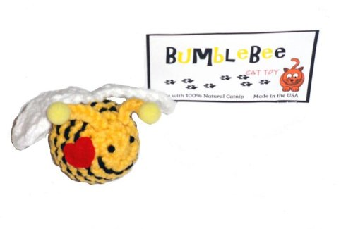 - A Pets World Hand Crochet Bumble Bee Cat Toy With Natural Catnip-USA Made