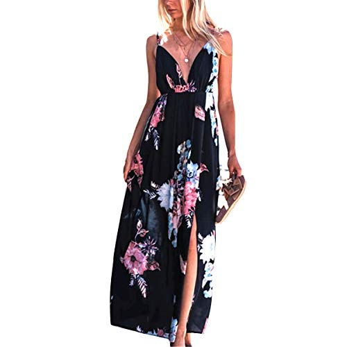 V Cuello Correa de Espagueti Dividir Maxi Cintura Alta Floral Boho Mujeres Largo Vestido de Playa (Color : Black, tamaño : M)