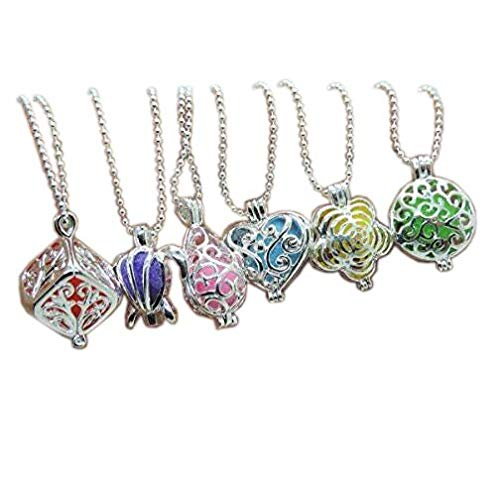 6pcs Mixed Style Silver Plated Brass Waterdrop Cube Shape Locket Cage Fragrance Essential Oil Aromatherapy Diffuser Charms Pendant Necklace