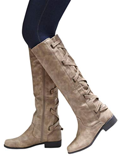 Syktkmx Womens Winter Lace Up Strappy Knee High Motorcycle Riding Flat Low Heel Boots (9 M US, 1-Khaki) (Lace Up Knee High Flat Heel Boots)