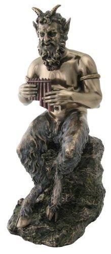 9.5 Inch Pan Greek God of Wild & Nature Sitting with Flut...