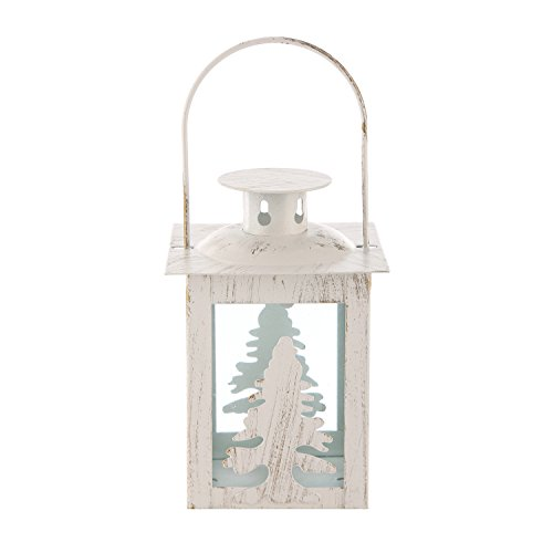 (TZINSUN Metal&Glass Decorative Hanging Tealight Candle Lantern with Christmas Tree Shaped Ideal Gift for Christmas Candle Holders(White) )