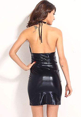 Pinkyee lentejuelas de la mujer Cup Fiesta Mini Club vestido negro