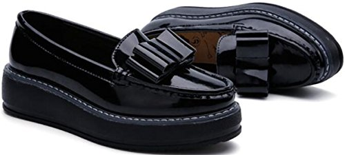 Oxford Slip Ppxid Black Shoes Leather Flats On Loafer Platform Women's x7rFq0t7