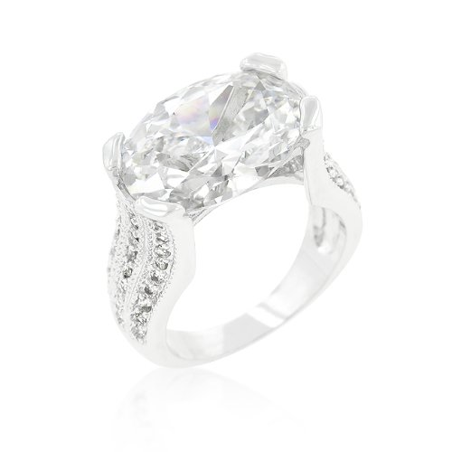 The Queen's Ring, Triple Set with Clear Oval and Round Cut Crystals, Gift Boxed - Size 5