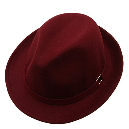 Bigood Unisex Pure color Metal buckle Short Brim Gangster Style Fedora Hat Wine red