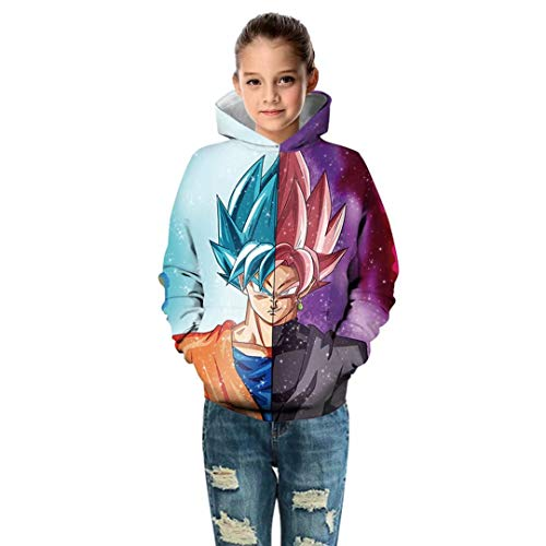 Girls Kids Dragon Ball Z Hoodies 3D Print Tops DBZ Long Sleeve Casual Pullover -