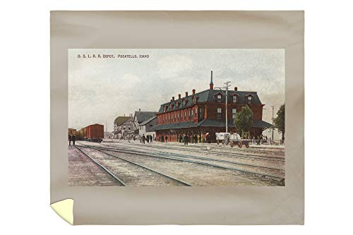 Lantern Press Pocatello, ID - Trains and People Around Train Depot 6381 (88x104 King Microfiber Duvet Cover) (Barrel Fiber Home Depot)