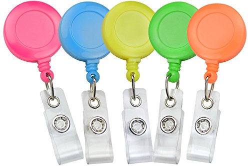 Premium (Five Pack) Bright Neon Retractable Badge Reels with Belt Clip by Specialist ID (Assorted (Neon Badge Holder)