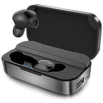[Bluetooth5.0 進化版] 軽量 防水 Bluetooth イヤホン ステレオサウンド 完全ワイヤレス イヤホン 充電ケース付き 長時間連続駆動 AAC Hi-Fi 高音質 ワンボタンコントロール 自動ペアリング Siri/Google対応 左右分離型 両耳/片耳対応 ブルートゥース イヤホン マイク内蔵 iPhone Android ipad対応, ブラック