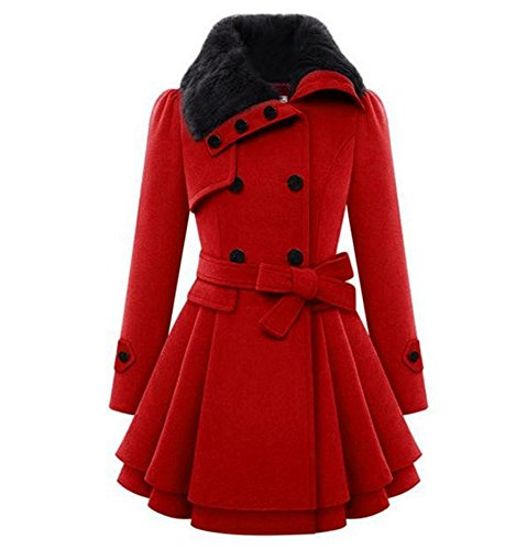 Invierno Lana Mezcla Suéter Cooshional Largo Furry Elegante Mujer Abrigo Falda Bodycon Trench Parka Roja De Coat Ajustado EqF8ExSwI