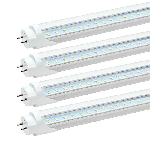 JESLED T8 T10 T12 4FT LED Light Tube, 24W, 5000K Daylight, 4 Foot LED Replacement Bulbs for Fluorescent Fixture, 3000LM, Clear, Dual-end Powered, Ballast Bypass, Garage Warehouse Shop Lights (4-Pack)